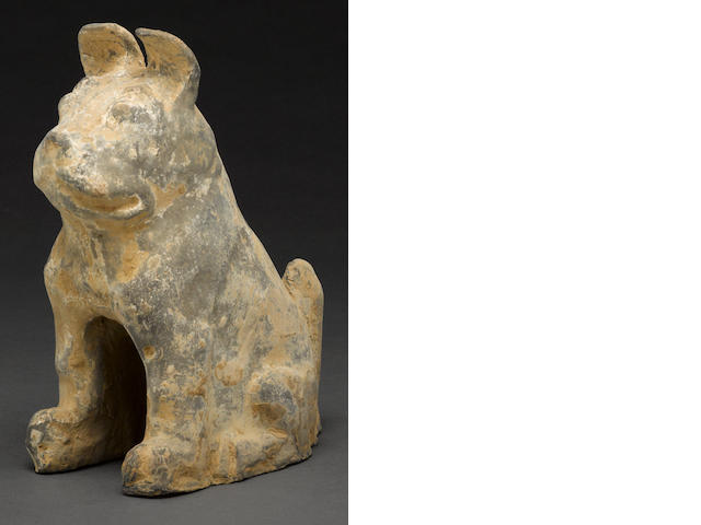 A lead glazed model of a dog Han dynasty