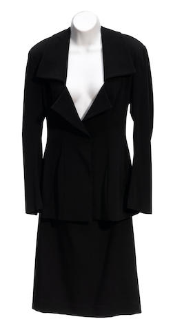 A Yohji Yamamoto black three button jacket and skirt suit