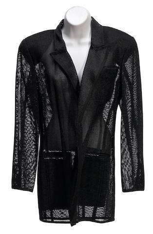 A Donna Karan midnight satin trim jacket