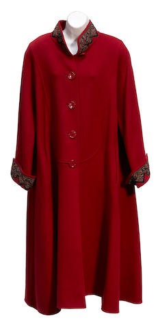 An Oscar de la Renta embroidered red wool coat