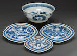 A group of blue and white porcelains, including two medium covered oval bowls, one small covered oval bowl 19th century and a circular bowl 18th century