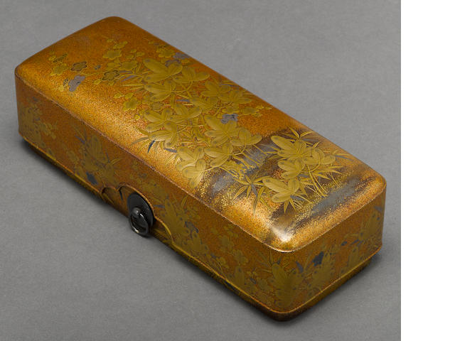A gilt lacquer two-section storage box  Meiji period