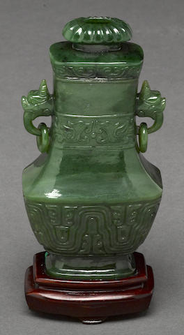 A Chinese spinach jade covered vase late Qing/Republic period