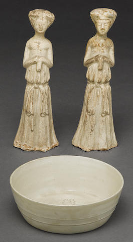 A pair of Tang dynasty style figures together with a Song dynasty style small bowl