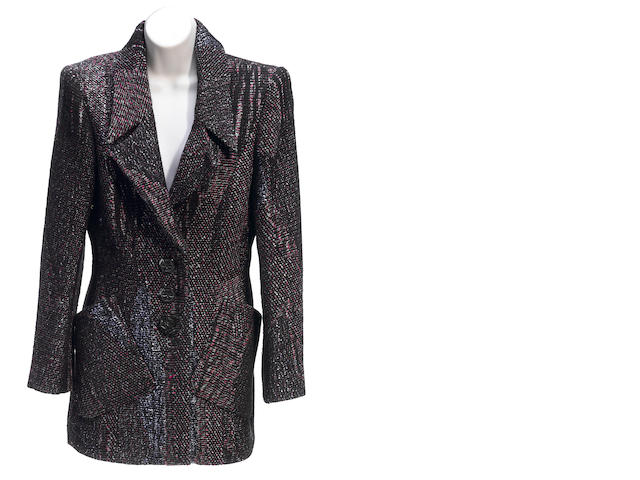 A Christian Lacroix black and multicolored tweed jacket