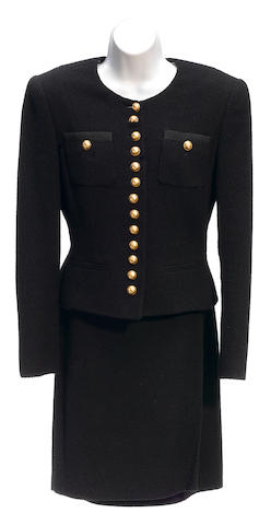 A Rena Lang black seven button wool jacket and skirt suit