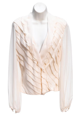 A Rena Lang cream chiffon ruffle collar long sleeve blouse