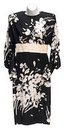 A Galanos black and white floral patterned silk dress