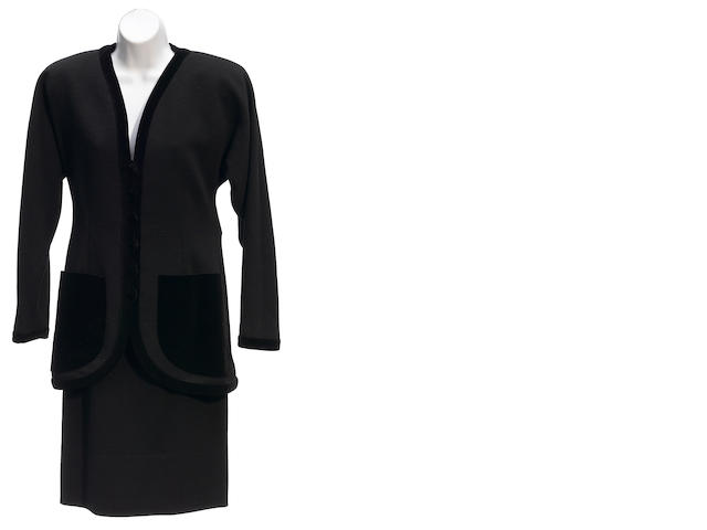 A JS Scherrer Boutique black velvet trim jacket and skirt