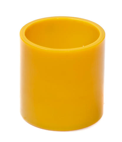 A yellow Peking glass brush pot