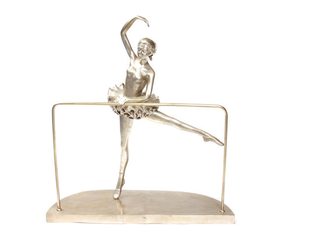 A silvered bronze figure of a ballet dancer