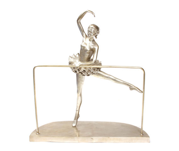 A silvered bronze figure of a ballet dancer