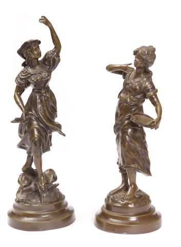 Two French patinated bronze figures of peasants