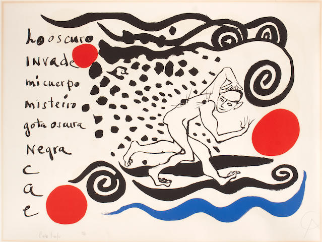 Alexander Calder (American, 1898-1976); and text by Carlos Franqui (Cuban, 1921-2010) Lo oscuro invade;