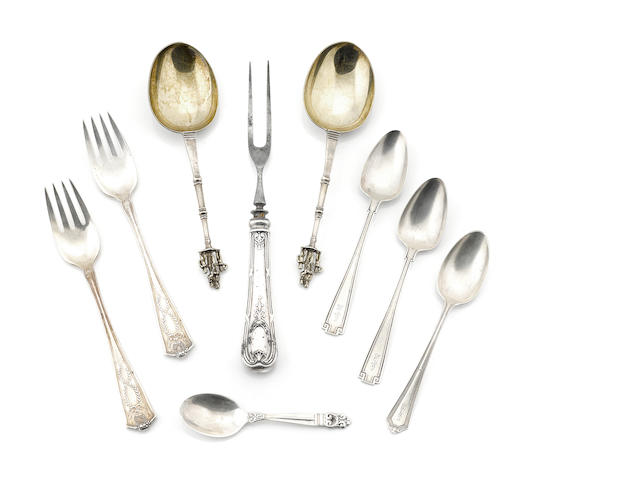 A group of American and English sterling silver flatware 19th - 20th century