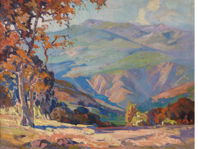 John Wesley Cotton (American, 1868-1931) California Hillsides with Sycamore 24 x 30in
