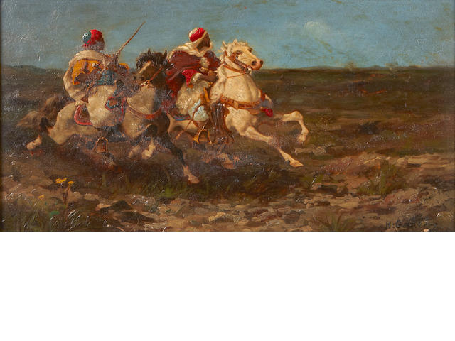 H. Garet Horsemen in pursuit 7 x 12in