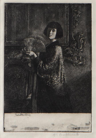 Brockhurt (2), Study of a young girl and Orientalist style portrait of a lady with fan
