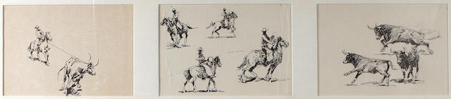 Edward Borein (American, 1872-1945) Cowboy with bull; Cowboy on horseback; Bulls running (3) sight 8 x 11 3/4in