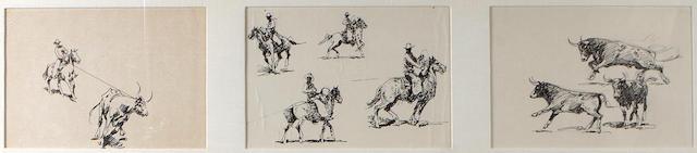 Edward Borein (American, 1872-1945) Cowboy with bull; Cowboy on horseback; Bulls running (3) sight 8 x 11 3/4in