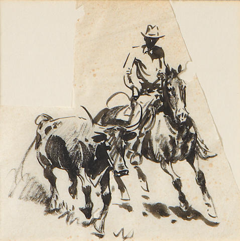Edward Borein, Assorted group of 8 pen/ink studies