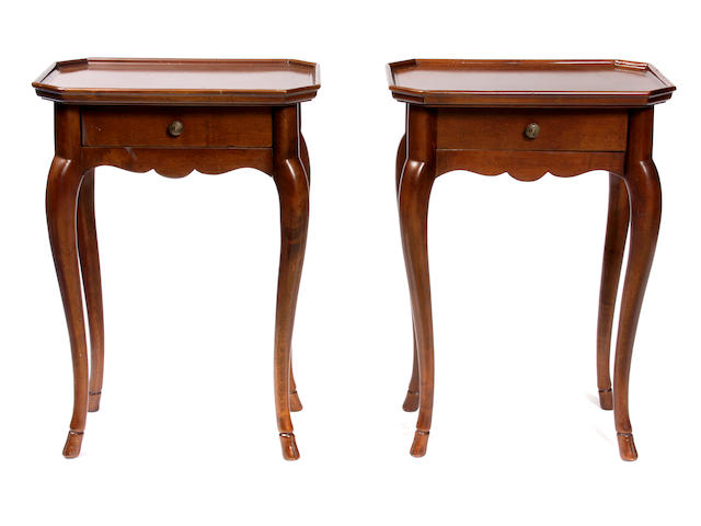 A pair of Louis XV Provincial style mahogany side tables
