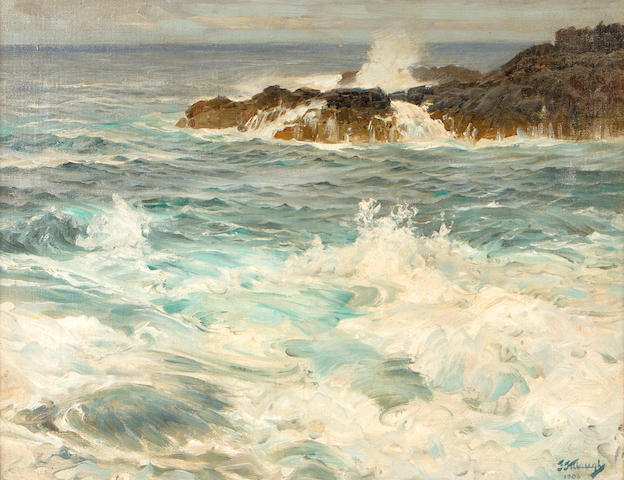 Frederick Judd Waugh (American, 1861-1940) Coastal scene, 1906 14 1/2 x 18 1/2in