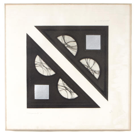 J.B. Thompson (American, 1932-1984); Plates A; C; G; J, from Triangularity;