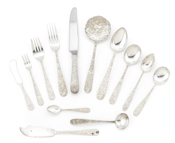 An American sterling silver floral repoussé part flatware service for eight S. Kirk & Son, Baltimore, MD, first quarter 20th century