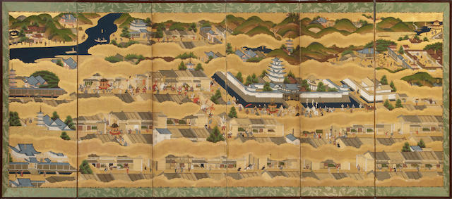 A six panel Japanese screen