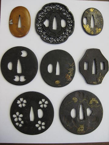 A group of seven iron tsuba Edo period and earlier