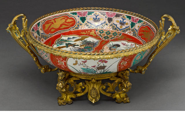 A Japanese Imari palette porcelain and giltbronze mounted bowl 19th century