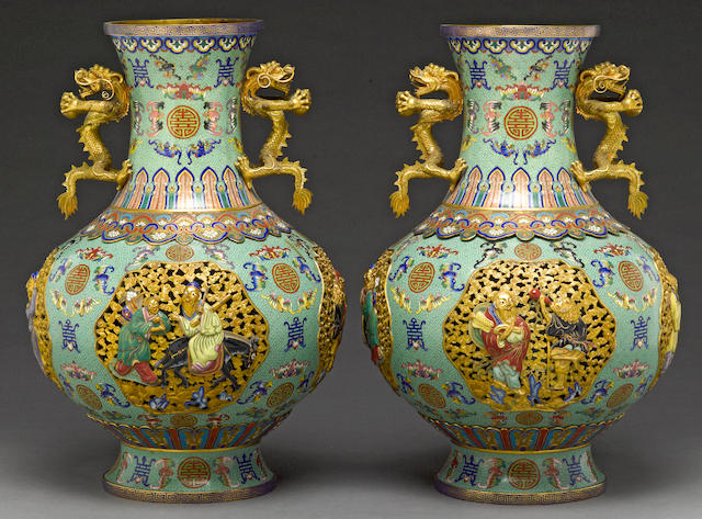 A pair of pieced cloisonné enameled metal vases with gilt bronze mounted vases Late 20th century