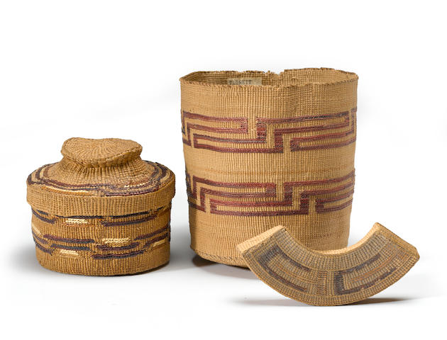Three Tlingit polychrome basketry items