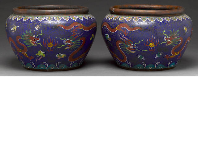A pair of cloisonne enamel jardinieres with dragon decoration Republic period