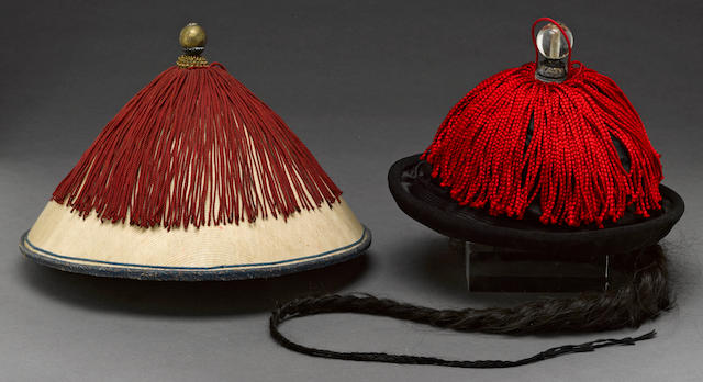 Two Manchu officials' hats and carrying cases