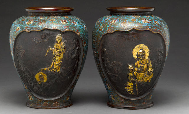 A pair of patinated bronze and champleve vases  19 century