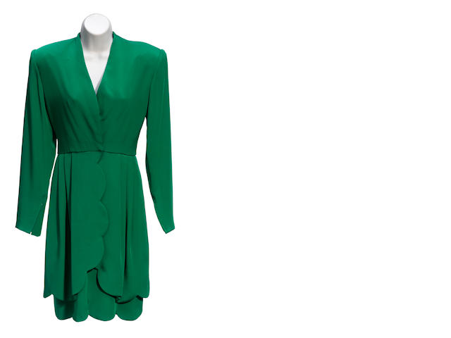 A green long sleeve silk dress