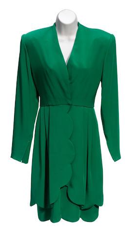 A green long sleeve silk dress