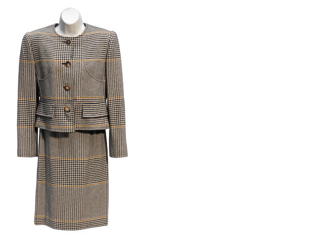 A Bill Blass brown houndstooth jacket