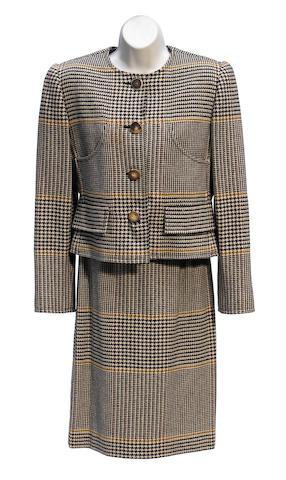 A Bill Blass brown houndstooth jacket
