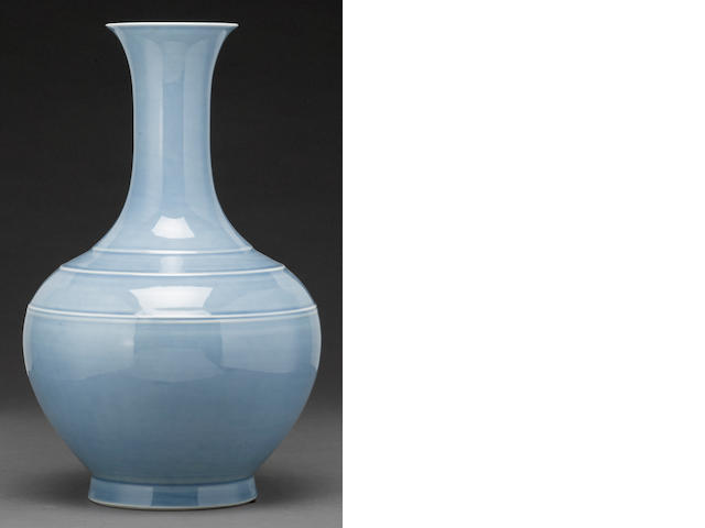 A sky blue stickneck porcelain vase Qianlong mark Republic period