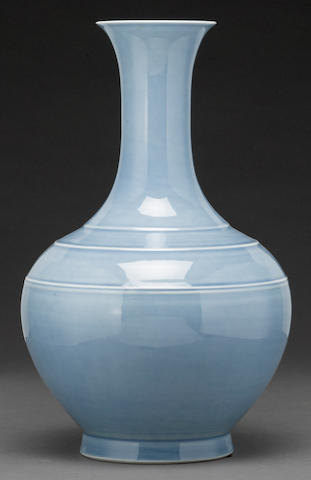 A sky blue stickneck porcelain vase Qianlong mark Republic period