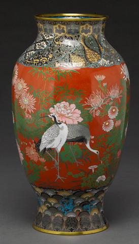 A Japanese cloisonne jar