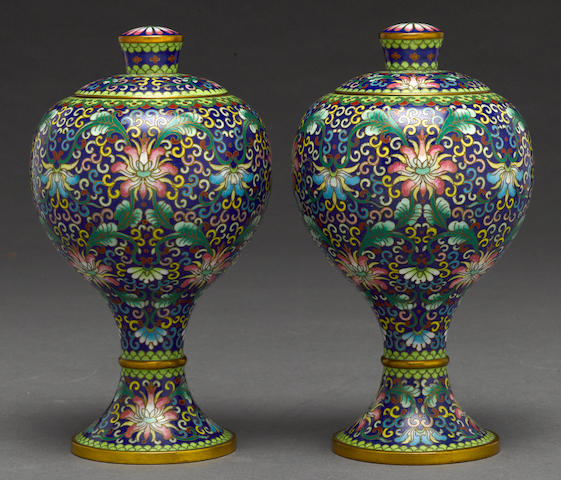 A pair of cloisonné enameled metal covered vessels 20th century