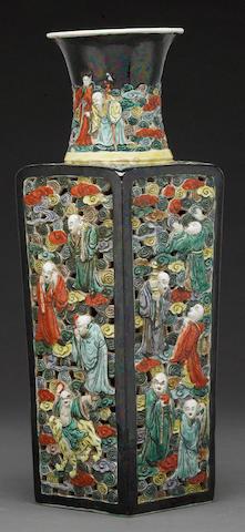 A pierced large famille noir vase