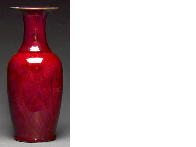 A large flame glazed porcelain vase, Qing dynasty