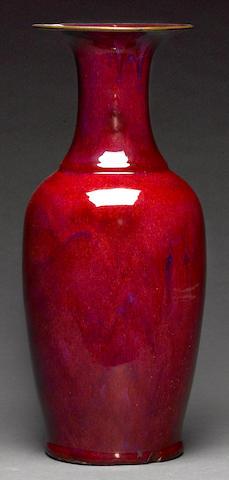 A large flame glazed porcelain vase, Qing dynasty