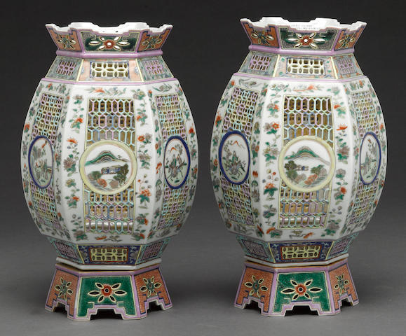 A pair of Chinese porcelain lamps Republic period