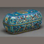 A Chinese cloisonne box mounted with a jade plaque